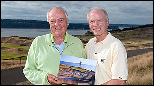 Robert Trent Jones Jr. and the book's editor and publisher Tom Cade at Chambers Bay.